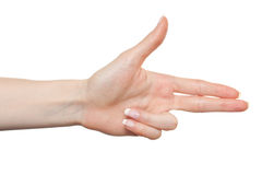 Mão da mulher que aponta para a direita Foto de Stock Royalty Free