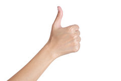 A mão da mulher que gesticula o sinal manuseia acima do verso Foto de Stock Royalty Free