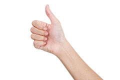 A mão da mulher que gesticula o sinal manuseia o lado honesto Imagem de Stock