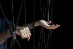 Mão da mulher que guarda a gaiola, abuso, conceito de tráfico humano imagens de stock