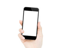 A mão da mulher que guarda o telefone isolou o trajeto de grampeamento para dentro Imagens de Stock Royalty Free