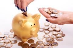 A mão da mulher que põe o dinheiro brasileiro das moedas no mealheiro Fotografia de Stock Royalty Free
