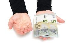 A mão da mulher quer mais dinheiro Fotografia de Stock Royalty Free