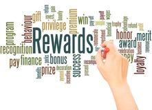 Mão da nuvem da palavra das recompensas que escreve o conceito foto de stock royalty free