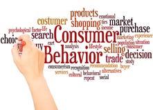 Mão da nuvem da palavra do comportamento de consumidor que escreve o conceito ilustração royalty free