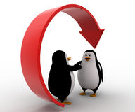 a mão da oferta do pinguim 3d para o aperto de mão recicla abaixo o conceito da seta Fotos de Stock Royalty Free
