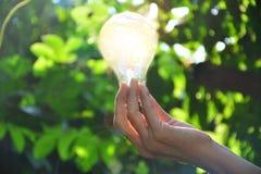 Mão da pessoa que guarda a ampola para a ideia ou o sucesso ou e solar Fotos de Stock Royalty Free