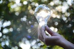 Mão da pessoa que guarda a ampola para a ideia ou o sucesso ou e solar Fotos de Stock