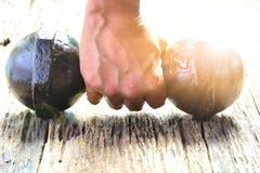 Mão da pessoa que guarda o peso para o exercício e t inferior saudável Imagens de Stock Royalty Free