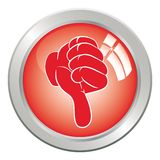 Mão da tecla do ícone, polegar do gesto para baixo. Imagem de Stock