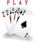 Mão da vitória dos cartões de jogo do pôquer Imagens de Stock Royalty Free