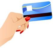 Mão das fêmeas do vetor com cartão de crédito. Fotos de Stock Royalty Free