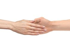 A mão das mulheres vai à mão do homem isolada Fotografia de Stock
