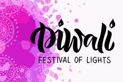 Mão de Diwali tirada rotulando a tipografia ilustração royalty free