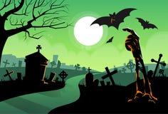 Mão de esqueleto inoperante do zombi do bastão de vampiro à terra ilustração royalty free