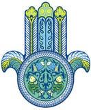 Mão de Hamsa no azul Fotos de Stock Royalty Free