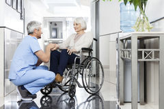 A mão de Holding Senior Patient do fisioterapeuta na cadeira de rodas fotos de stock royalty free