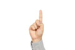 A mão de homem de negócio aparece o indicador Imagens de Stock