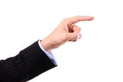 Mão de homem de negócio que aponta acima imagem de stock royalty free
