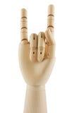 Mão de madeira que indica chifres do diabo Imagem de Stock Royalty Free