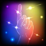 Mão de néon acima Fotografia de Stock Royalty Free