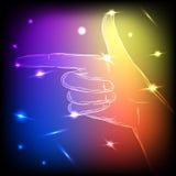 Mão de néon deixada Foto de Stock Royalty Free