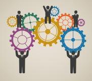 Mão de obra, funcionamento da equipe, executivos no movimento ilustração royalty free