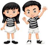 Mão de ondulação asiática do menino e da menina Fotografia de Stock Royalty Free