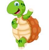 Mão de ondulação da tartaruga dos desenhos animados, isolada no branco Fotografia de Stock