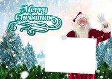 Mão de ondulação de Papai Noel ao guardar um cartaz 3D Imagens de Stock