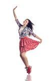 Mão de ondulação do dançarino moderno da menina do estilo no fundo branco isolado Foto de Stock Royalty Free