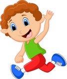 Mão de ondulação do rapaz pequeno dos desenhos animados Fotos de Stock