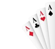 Mão de póquer de quatro ás Foto de Stock