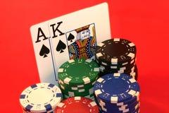 Mão de póquer do ás e do rei Fotos de Stock Royalty Free