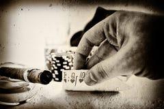Mão de póquer do vintage Fotografia de Stock