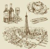 Mão de Paris desenhada ilustração stock