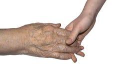 Mão de suas avó e neta Fotografia de Stock