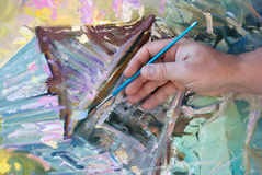 Mão de um artista Fotografia de Stock Royalty Free