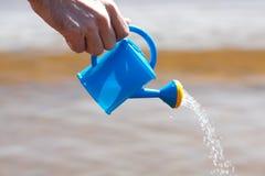 Mão de um homem com uma lata molhando Foto de Stock