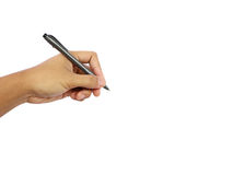 A mão de um homem que mantém uma pena pronta para escrever Foto de Stock