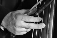 Mão de um músico que joga em uma imagem preto e branco do close up do contrabaixo imagem de stock