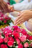 Mão de uma noiva que recebe a água santamente das pessoas idosas Imagens de Stock