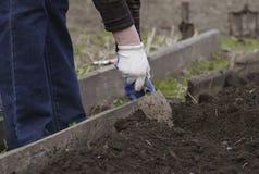 Mão de uma pá de escavação da mulher adulta imagens de stock royalty free
