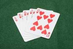 Mão de vencimento afortunada de cartões do pôquer Imagem de Stock