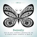 Mão decorativa borboleta tirada do vetor do vintage Ilustração Stock