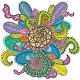 Mão decorativa colorida do vetor decorativo da onda da natureza da garatuja teste padrão esboçado tirado Fotos de Stock Royalty Free