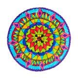 Mão decorativa colorida teste padrão tirado da mandala imagem de stock royalty free