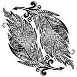 Mão decorativa esboço tirado das penas no estilo do zentangle ilustração do vetor com o ornamento, isolado ilustração stock