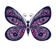 Mão decorativa vívida borboleta tirada do vintage Ilustração do Vetor