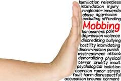 A mão defende o conceito Mobbing da nuvem da palavra Fotos de Stock Royalty Free